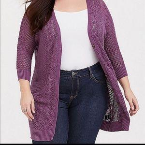 Torrid 2 Pointelle Boyfriend Cardigan Sweater